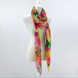 Betsy Johnson Silky Neon Pink Purple Floral Scarf